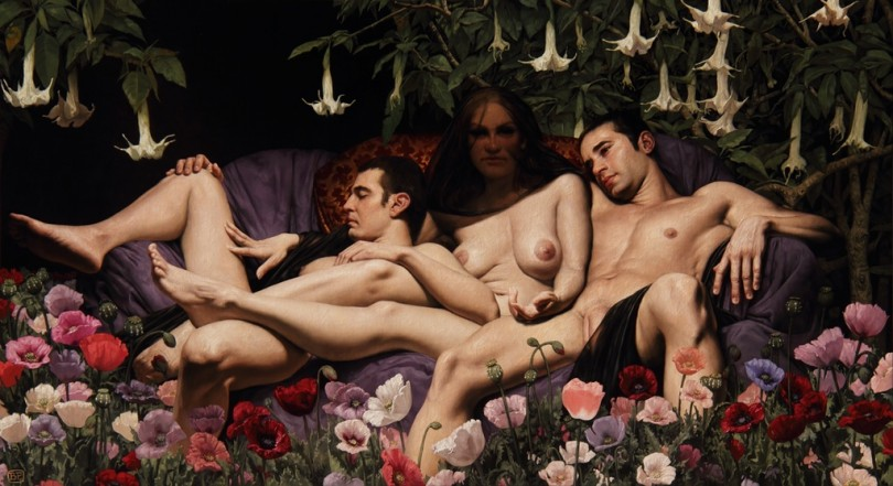 The Night and Her Two Sons, oil on canvas, 100x180cm, 2011
