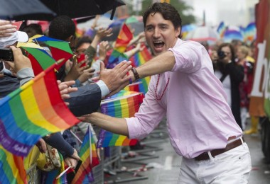 Federal Liberal Leader Justin Trudeau works the crowd during Toronto's Pride Parade on Sunday, June 28, 2015. THE CANADIAN PRESS/Chris Young