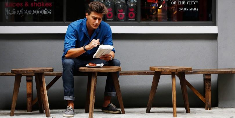 gay man reading