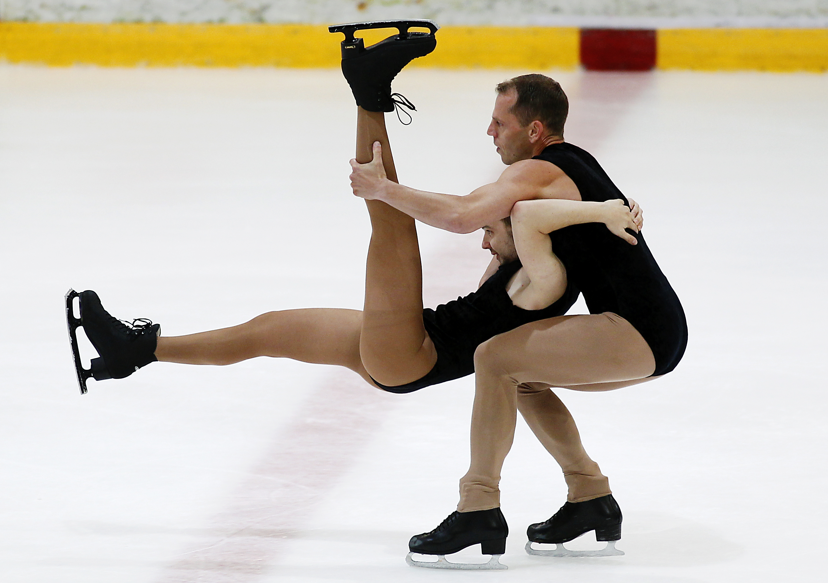 Fassbender of Germany and Zamponi of France compete in the figure skating event during the Gay Games VIII in Cologne