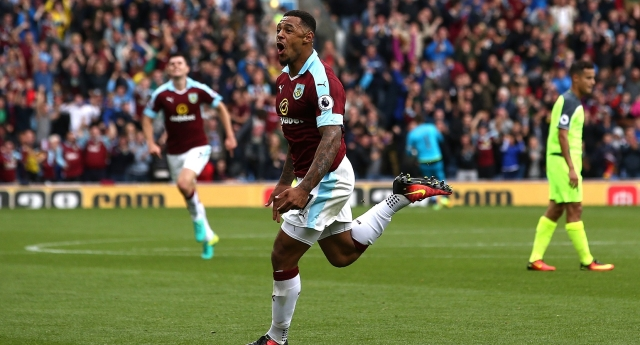 BURNLEY, ENGLAND - AUGUST 20: Andre Gray of Burnley celebrates scoring his sides second goal during the Premier League match between Burnley and Liverpool at Turf Moor on August 20, 2016 in Burnley, England. (Photo by Jan Kruger/Getty Images)
