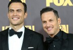 Cheyenne Jackson, left, and Jason Landau arrive at the FOX Golden Globes afterparty on Sunday, Jan. 10, 2016, at the Beverly Hilton Hotel in Beverly Hills, Calif. (Photo by Omar Vega/Invision/AP)