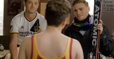 """THE REAL O'NEALS - """"The Real Match"""" - When Jimmy recruits a reluctant Kenny to join his wrestling team for a one-time match, a surprise victory gives him the confidence to join the team full time to become the first, openly gay athlete at St. Barklays. Kenny's newfound stardom makes Jimmy feel a bit replaced, but when an opponent refuses to wrestle his brother, Jimmy puts his feelings aside and rallies the team around Kenny. Meanwhile, Pat injures his back trying to help Eileen prepare for a weekend getaway, but things only get worse when she tries to be the perfect caregiver to impress VP Murray but fails miserably, on ABC's """"The Real O'Neals,"""" airing on TUESDAY, DECEMBER 6 (9:30-10:00 p.m. EST). (ABC/Tony Rivetti) ROBBIE ROGERS, GUS KENWORTHY"""