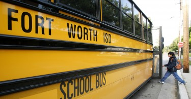 A student boards a Fort Worth Independent School bus in Texasin2009.The new district superintendent is facing criticism for issuing guidelines on supporting transgender studen
