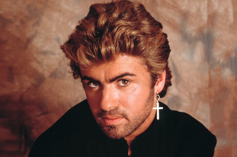 George Michael, studio portrait, London, 1987. (Photo by Michael Putland/Getty Images)