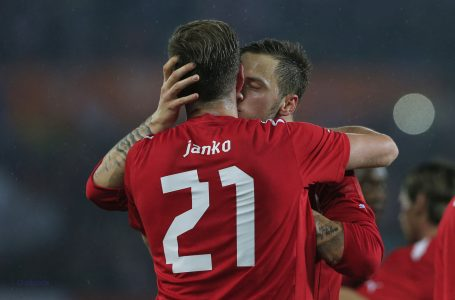 Austria's Marko Arnautovic (R) congratulates teammate Marc Janko after scoring a goal against United States' national football team during a FIFA World Cup 2014 friendly football match between Austria and United States on November 19, 2013 at the Ernst Happel Stadium, in Vienna.  AFP PHOTO / ALEXANDER KLEIN        (Photo credit should read ALEXANDER KLEIN/AFP/Getty Images)