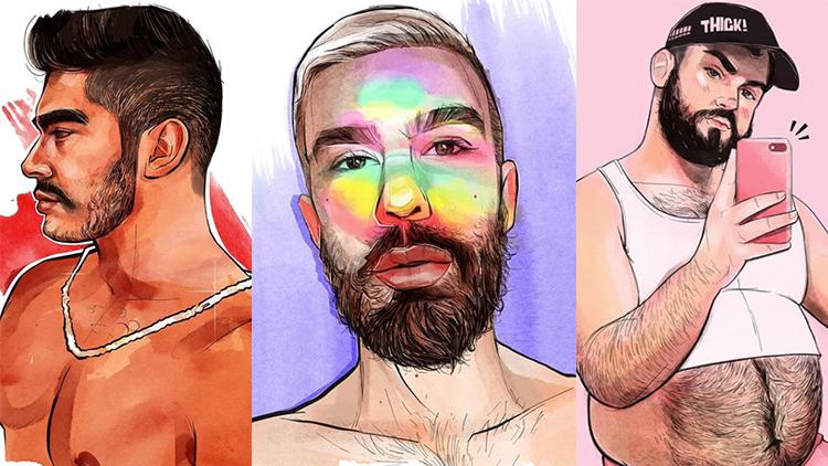 Kuir Sanatçının Renkli Muhteşem Erkek Portrelerine Bir Göz Atın