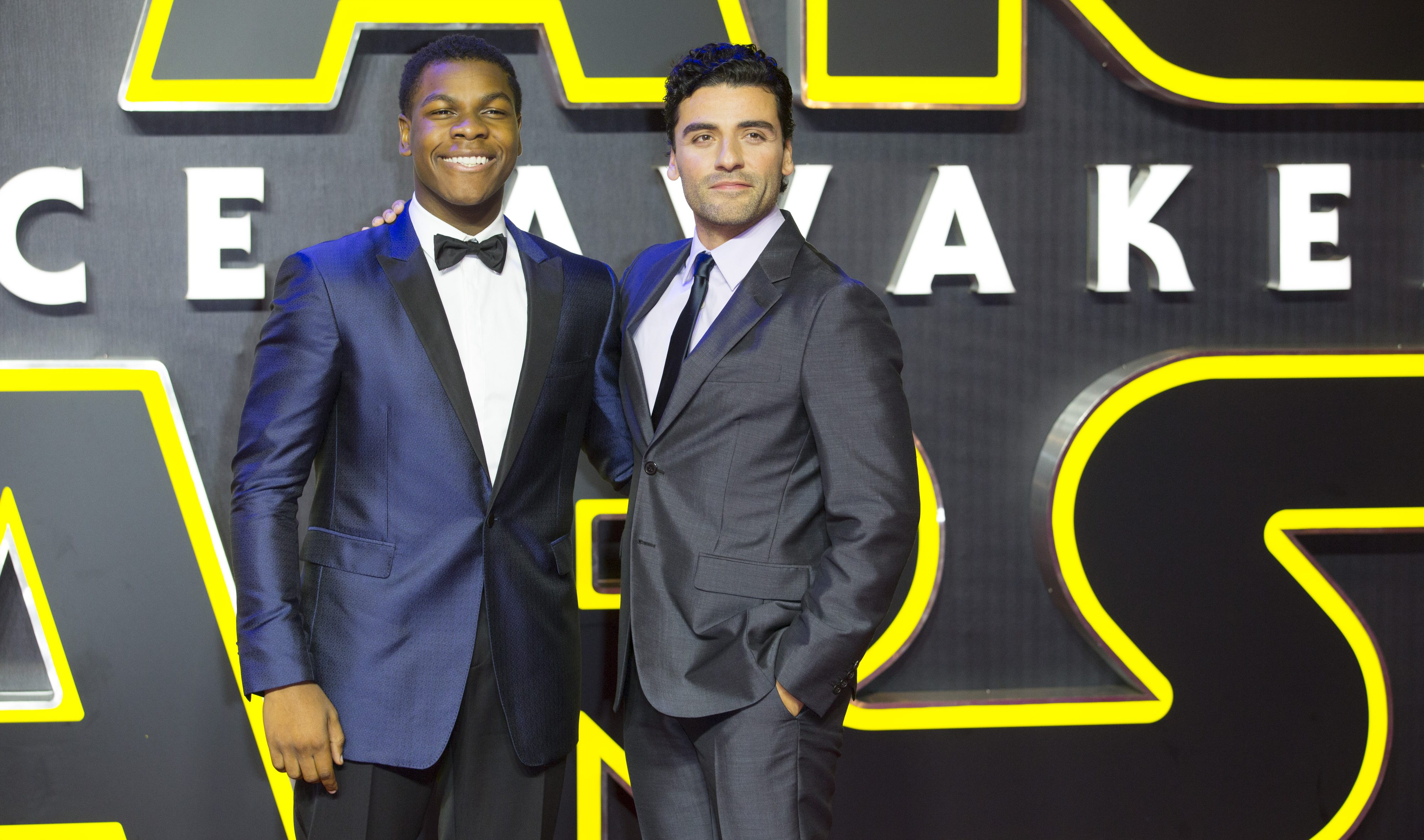 LONDON, UK – DECEMBER 16: Actors John Boyega and Oscar Isaac attend the European Premiere of the highly anticipated Star Wars: The Force Awakens in London on December 16, 2015.