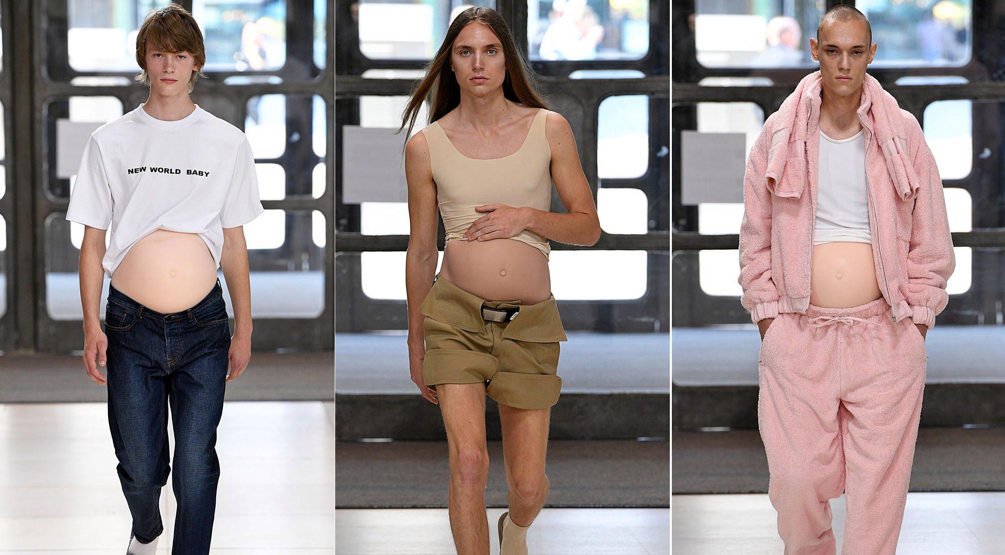 Erkek Modeller, Hamile Göbekleriyle Podyumda!