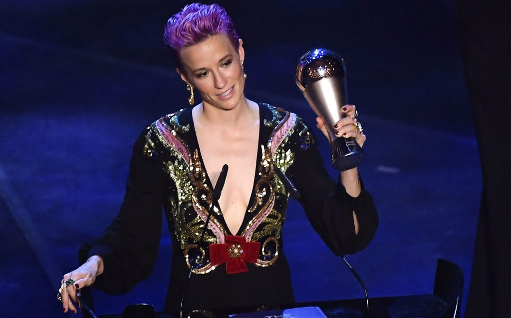 US and Reign FC midfielder Megan Rapinoe reacts after winning the trophy for the Best FIFA Women's Player of 2019 Award during The Best FIFA Football Awards ceremony, on September 23, 2019 in Milan. (Photo by Marco Bertorello / AFP)        (Photo credit should read MARCO BERTORELLO/AFP/Getty Images)
