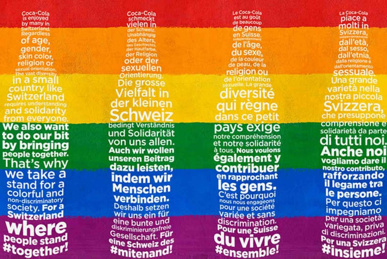 Coca-Cola, İsviçre Gazetelerinin İlk Sayfalarını Eşitlik Mesajını Yaymak Adına Satın Aldı!