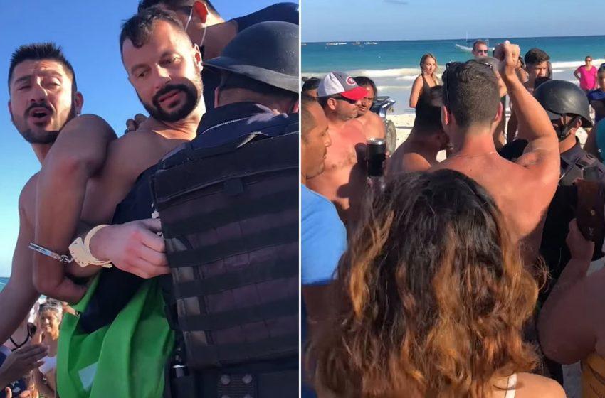 Meksikalılar, Plajda Öpüştükleri İçin Tutuklanmaya Çalışılan Eşcinsel Çİfti Polisin Elinden Kurtardı
